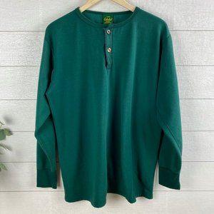 VTG Cabelas Mens XL Henley Green Long Sleeve